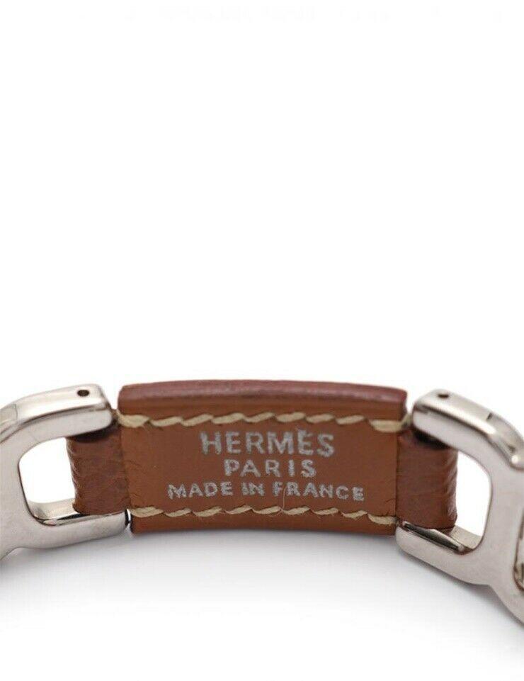 Hermes bracelet Epsom Brown Silver C Auth