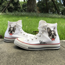 Shoes White Canvas Converse Design French Bulldog Chuck Taylor Sneakers ... - $119.00