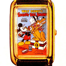 Mickey 'Society Dog Show' Watch New Seiko Lorus Gold Tone Rectangular RM... - $97.86