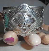 BRIGHTON Silver Plate & Crystal Estate Style Cuff Bracelet! S/M - $34.65