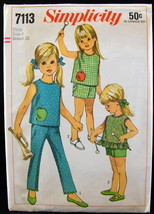 Simplicity Printed Pattern 7113 Girls Overblouse Pants Shorts 1967 Size 4 - $6.34