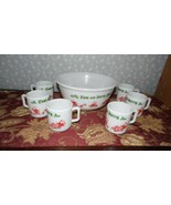 VINTAGE HAZEL ATLAS TOM AND JERRY PUNCH BOWL WITH CUPS SET 6 CUPS AND BOWL - $74.20