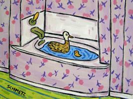 DUCK taking a bath painting bird art print 8x10 - $17.49