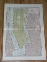 1893 ORIGINAL ANTIQUE MAP OF MANHATTAN NEW YORK BROOKLYN JERSEY CITY BOS... - $43.56