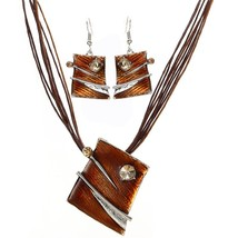 High Quality Leather Rope Jewelry Sets Geometry Pendant Necklaces Earrin... - $13.38