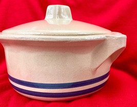 Roseville Pottery Covered Casserole Bowl - 2 Quart - Blue Stripes RRP - $67.32