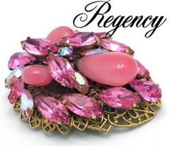 Vintage Brooch REGENCY Pink Rhinestone & Art Glass Tear Drops on Gold Fi... - $95.00