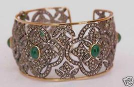 3.85Ct Rose Cut Diamond Emerald Silver Vintage Inspired Cuff Bracelet EB... - $950.00