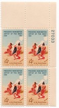 1961 Frederic Remington Plate Block of 4 US Stamps Catalog Number 1187 MNH