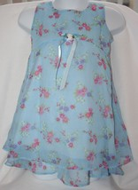 First Impressions Blue Sheer Floral Dress Toddler Girl 3T Soft Comfortable - $7.91