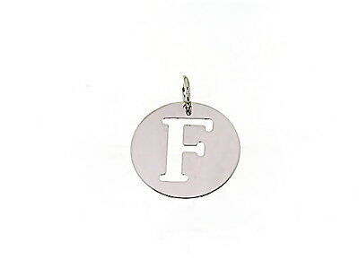 18K WHITE GOLD ROUND MEDAL WITH INITIAL F LETTER F MADE IN ITALY DIAMETER 0.5 IN