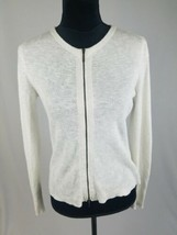 Eileen Fisher women XS white organic linen blend zip up knit cardigan sweater - $49.50
