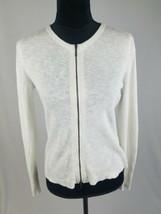 Eileen Fisher women XS white organic linen blend zip up knit cardigan sw... - $49.50