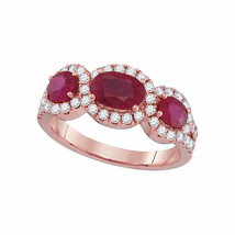 18kt Rose Gold Womens Oval Ruby Diamond 3-stone Ring 3.00 Cttw - £2,478.55 GBP