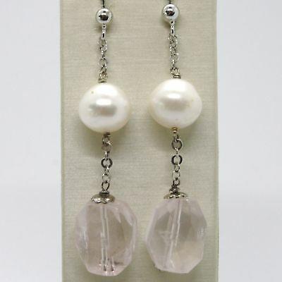 Pendientes de Plata 925 Rodio con Cuarzo Rosa y Perlas Blancas
