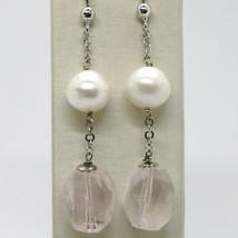 Pendientes de Plata 925 Rodio con Cuarzo Rosa y Perlas Blancas image 1