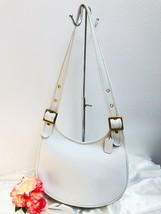 Rare Vintage Coach Large Saddle Bag White Leather, NYC early 70s Style 9... - $247.49