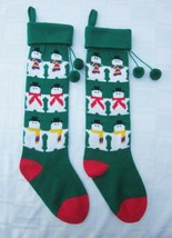 Lot of 2 Dept. 56 SNOWMAN KNIT CHRISTMAS STOCKINGS CLEVER REVERSE DESIGN... - $14.24