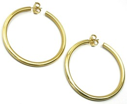 925 STERLING SILVER CIRCLE HOOPS BIG EARRINGS, 6 cm x 4 mm, YELLOW, SATIN FINISH image 1