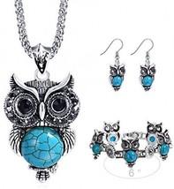 Miraculous Garden Girls Vintage Owl Jewelry Sets Silver Retro Turquoise ... - $22.88
