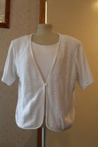 Pierre Cardin, Women's White Sweater, Short Sleeve, XL - $9.95