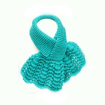 Keyhole Scarf, Blue Lacy Hand Knit Ascot - $36.00