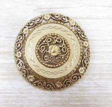 Vintage Large Round Brooch Gold Tone Flowers Filigree Costume Jewelry, Gift for  - $28.20