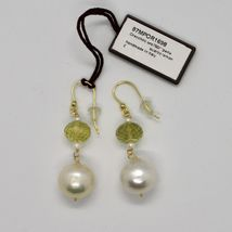 SOLID 18K YELLOW GOLD EARRINGS WITH WHITE PEARL AND LEMON QUARTZ MADE IN ITALY image 3