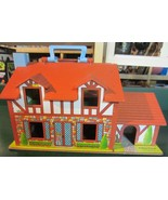 VINTAGE FISHER PRICE LITTLE PEOPLE TUDOR HOUSE with extras and box SUPER... - $123.50