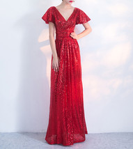 Women Sequin Maxi Dresses Cap Sleeve High Waist Maxi Sequin Dress Gold Red Black