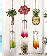 Let's Flamingle Stained Glass Tropical Icon Design Windchime by Giftcraft - $23.31