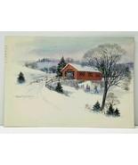 Covered Bridge Winter Scene Ice Skating by Robert Laessig Postcard J10 - €5,71 EUR