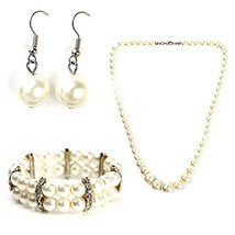 UNITED ELEGANCE Classic Faux Pearl Set With Necklace, Drop Earrings & Bracelet - $19.99