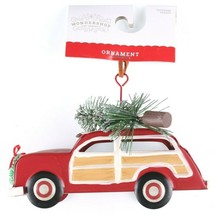 Tin Woody Wagon Car With Wreath and Christmas Tree Ornament NEW image 1