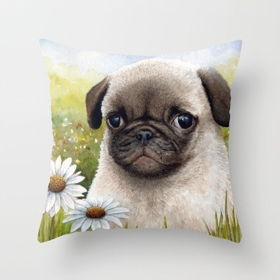 Throw Pillow Cushion case Made in USA Dog 114 Pug Daisy flower art L.Dumas