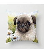 Throw Pillow Cushion case Made in USA Dog 114 Pug Daisy flower art L.Dumas - $546,09 MXN+
