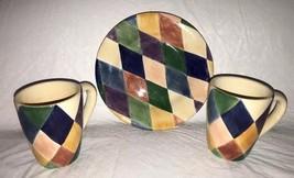 Tabletops CARNIVAL Hndpntd Colorful Diamond Harlequin Salas Plate & 2 Mu... - $19.99