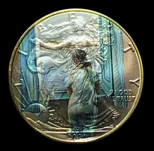 Young Women At Window Salvador Dali Silver Ounce Eagle ASE with 24k Gold... - $70.13