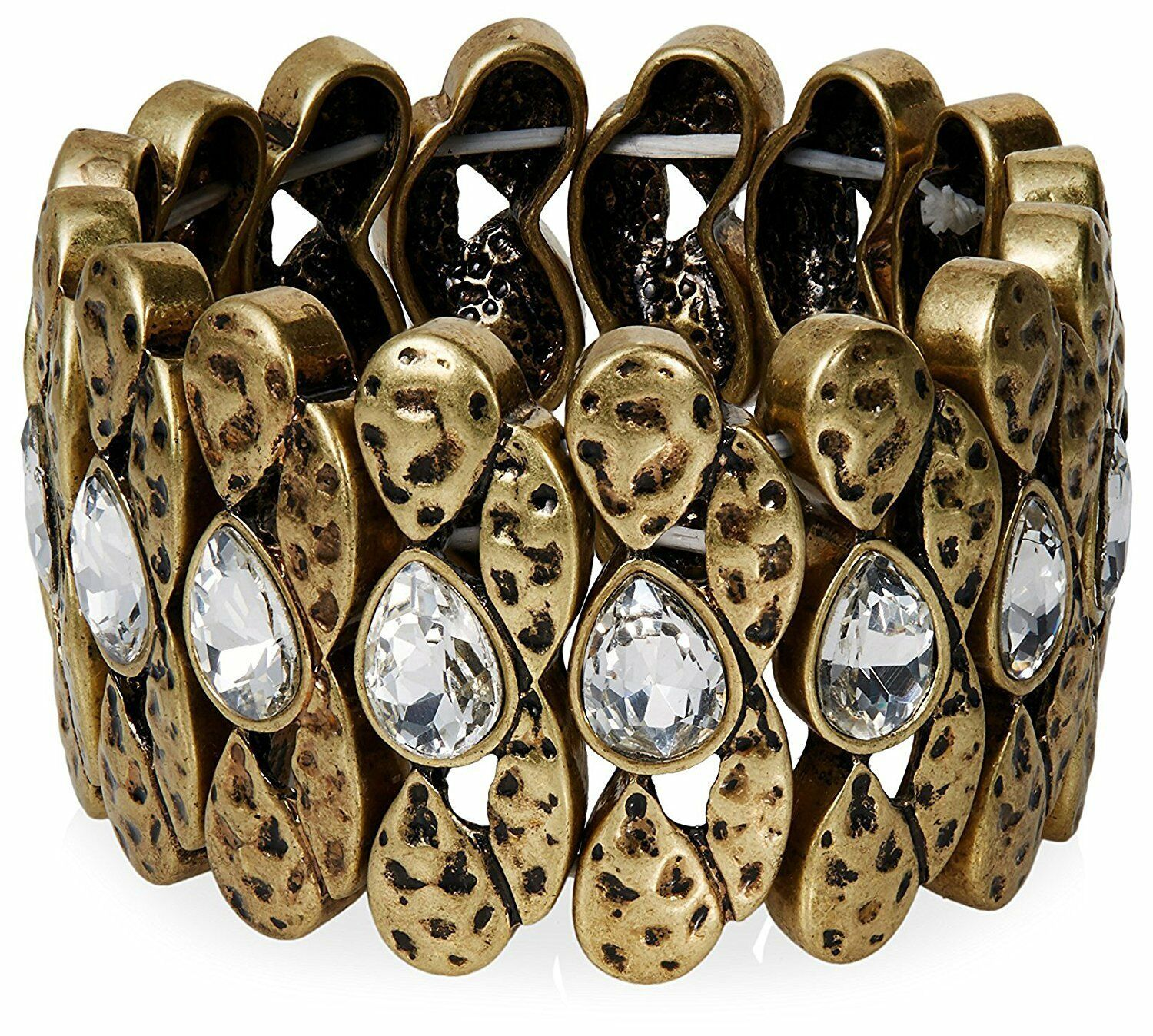 NEW Lesile Danzis Aged 14K Gold-Plated Stretch Bracelet with Crystals