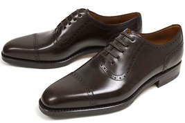Handmade Men's Brown Leather Two Tone Brogue Style Leather Shoes image 3