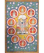 Pichwai painting traditional wall decor indian art hand painted stone co... - $554.88