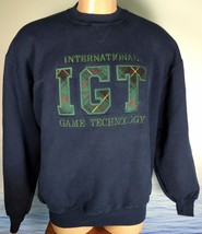 Vintage IGT GAMING Made In USA RUSSELL 50/50 Mens XL Sweatshirt Blue Emb... - $38.61