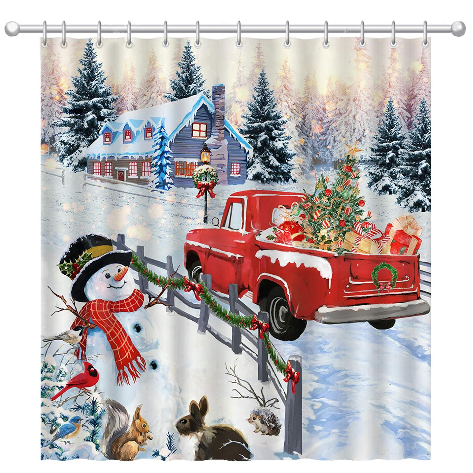 Primary image for Pinata Christmas Shower Curtain, Snowman Winter Shower Curtains with Red Truck f
