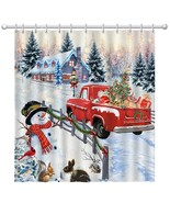 Pinata Christmas Shower Curtain, Snowman Winter Shower Curtains with Red... - $39.11+