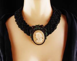 Antique Cameo Brooch - Victorian Black glass Choker - Vintage garnet rhinestone  - $325.00