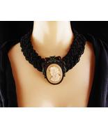 Antique Cameo Brooch - Victorian Black glass Choker - Vintage garnet rhi... - $325.00