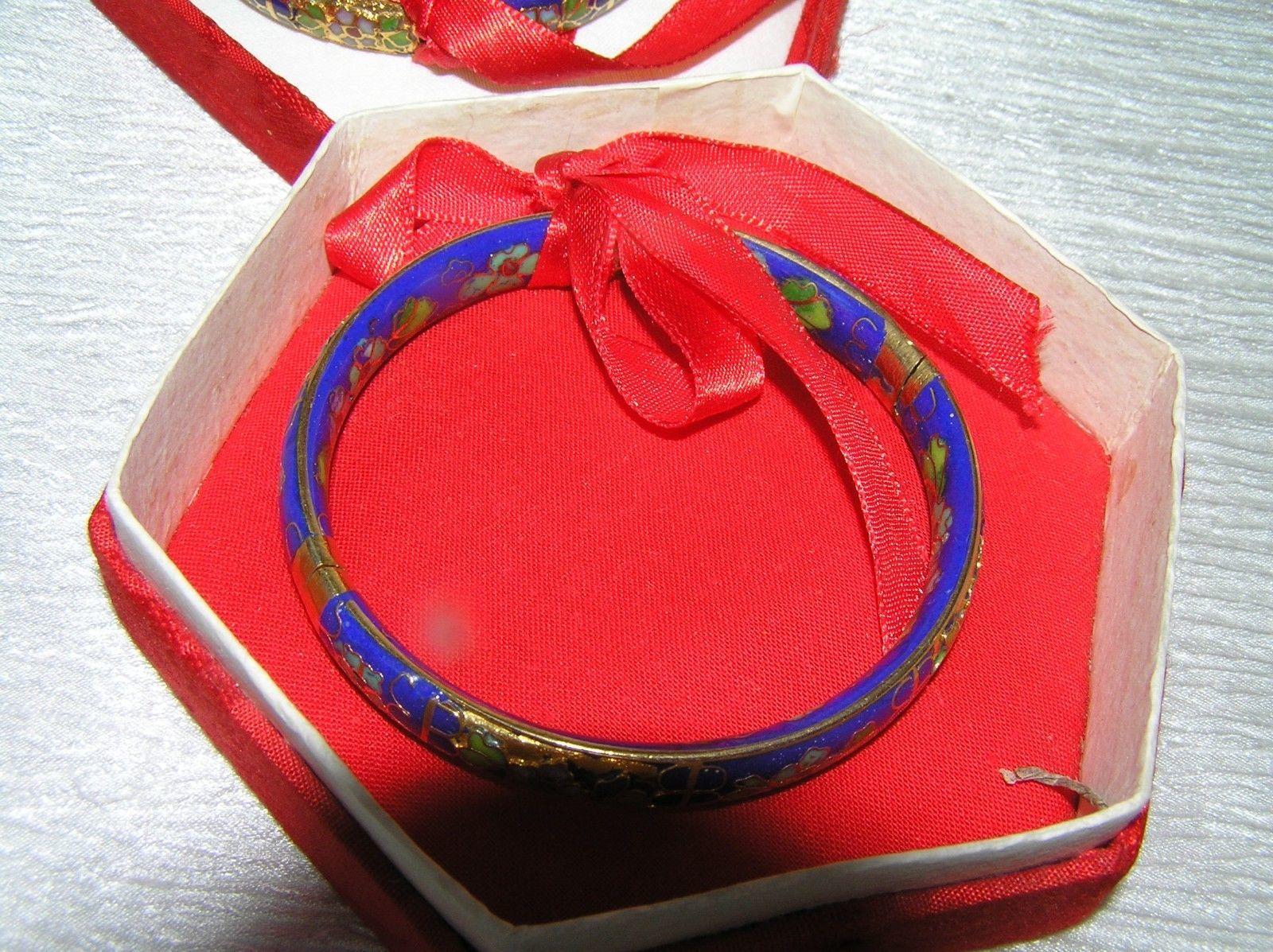 Vintage Lot of 2 Asian Export Blue Enamel Floral Cloisonne Gilt Bangle Bracelets