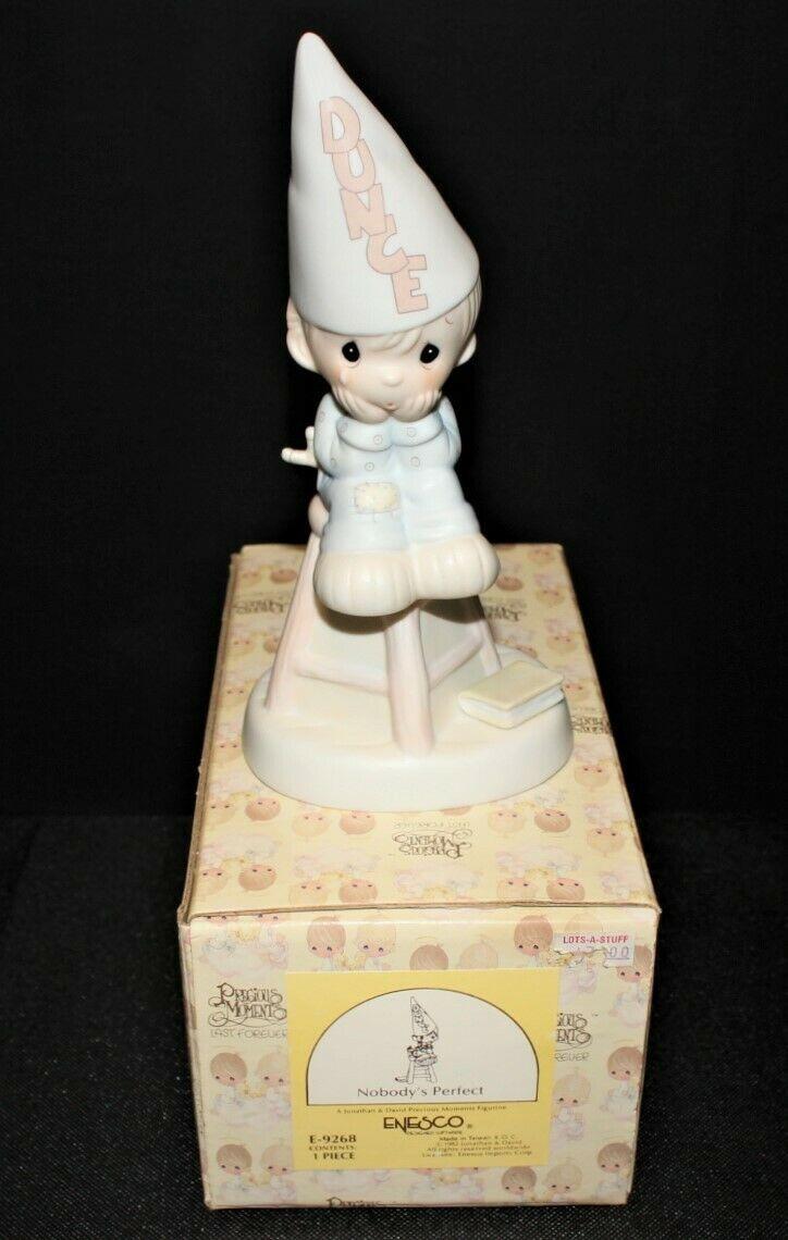 Precious Moments 1982 Nobody Perfect Figurine in Box, E-9268 Flame Trademark - $17.00