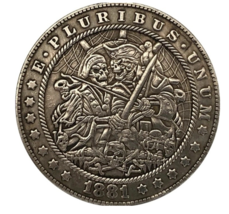 Hobo Nickel Dollar Pirate Skull Crew Skeleton Viking Ship US Art Casted ... - $10.96