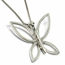 18K WHITE GOLD NECKLACE, BUTTERFLY PENDANT WITH DIAMOND AND VENETIAN CHAIN  image 2